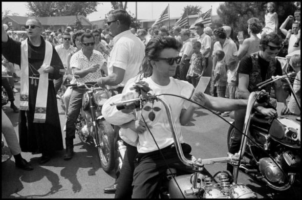USA. Midlothian, Illinois. 1965. Seventeenth Annual World's Largest Motorcycle Blessing, St. Christopher Shrine.